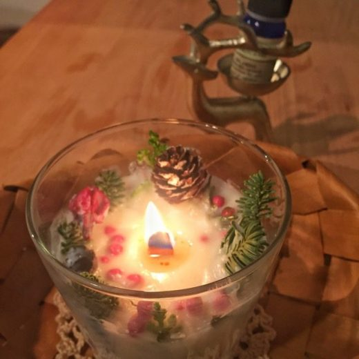 アロマのクリスマスキャンドル作り