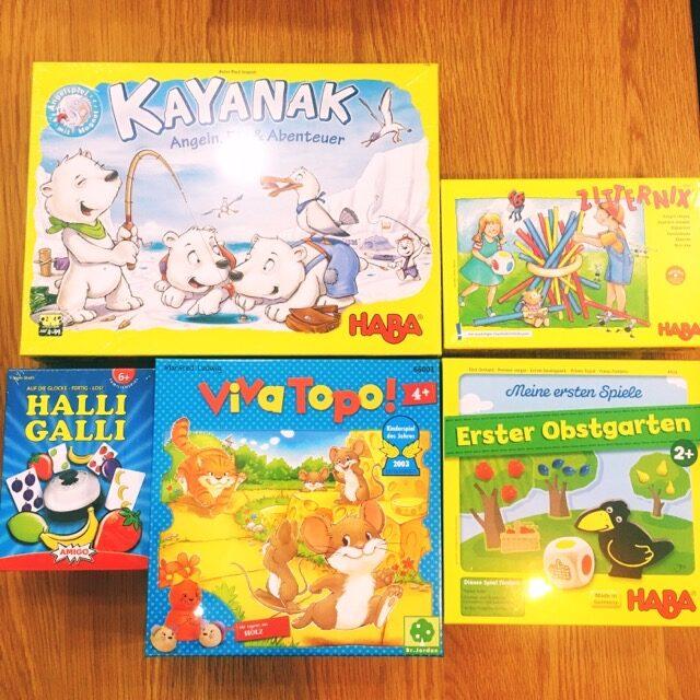 カヤナック、ネコとネズミの大レース、スティッキー、ハリガリ、はじめてのゲーム・果樹園